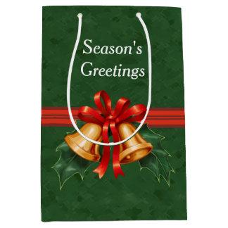 クリスマス鐘およびヒイラギの葉の緑 ミディアムペーパーバッグ