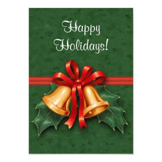 クリスマス鐘およびヒイラギの葉の緑 12.7 X 17.8 インビテーションカード