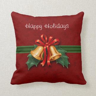 クリスマス鐘およびヒイラギの赤 クッション