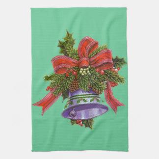 クリスマス鐘および緑の台所タオル キッチンタオル