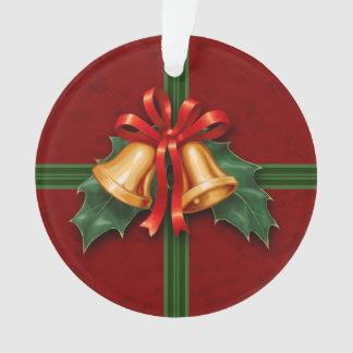 クリスマス鐘および赤いヒイラギの葉 オーナメント