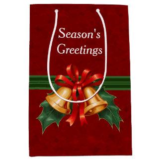 クリスマス鐘および赤いヒイラギの葉 ミディアムペーパーバッグ