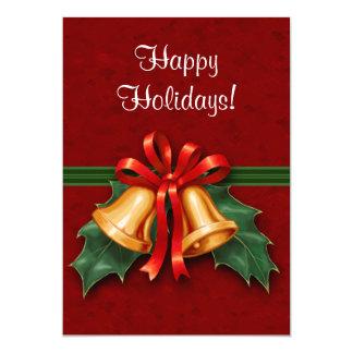 クリスマス鐘および赤いヒイラギの葉 12.7 X 17.8 インビテーションカード