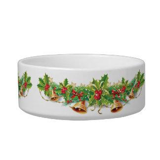 クリスマス鐘の花輪媒体のペットボウル ボウル