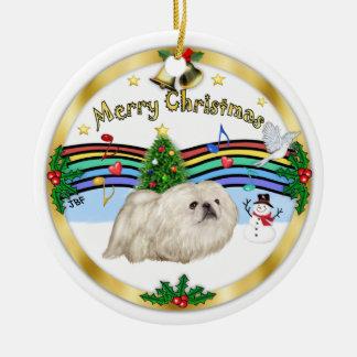 クリスマス音楽1 - MC -白いPekingese セラミックオーナメント