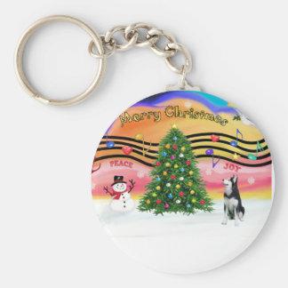 クリスマス音楽2 -シベリアンハスキー キーホルダー