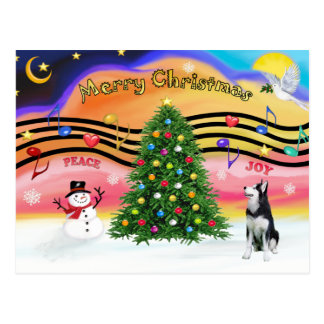クリスマス音楽2 -シベリアンハスキー ポストカード