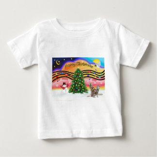 クリスマス音楽2 -シベリアンハスキー(2赤) ベビーTシャツ