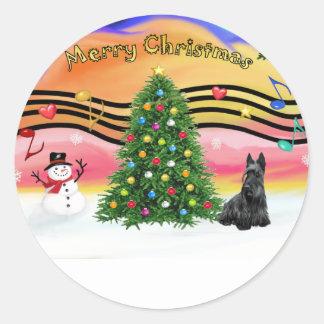 クリスマス音楽2 -スコットランドテリア ラウンドシール