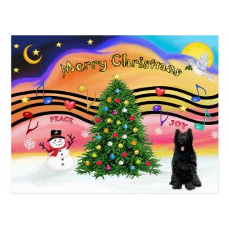 クリスマス音楽2 - Briard (黒) ポストカード