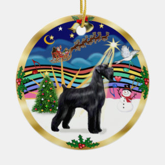 クリスマス音楽3 -黒いジャイアント・シュナウザー セラミックオーナメント