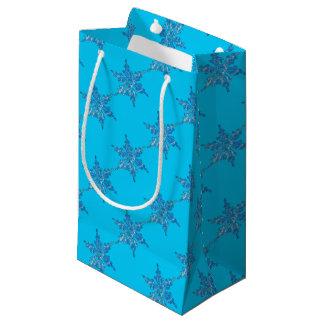 クリスマス3のための冬の雪片のデザイン スモールペーパーバッグ