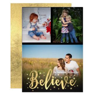 クリスマス3の写真の挨拶を書く金ゴールドを信じて下さい カード