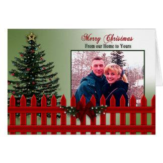 クリスマス-あなたの写真-あなたのへの私達の家-塀 カード