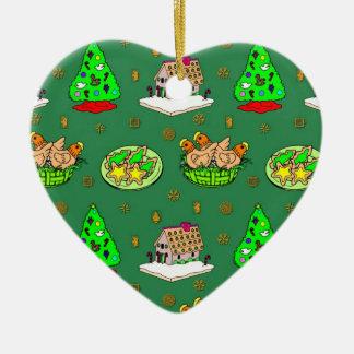 クリスマス-お菓子の家及び曇らされたクッキー2 セラミックオーナメント