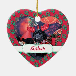 クリスマス-アセル-プードル セラミックオーナメント
