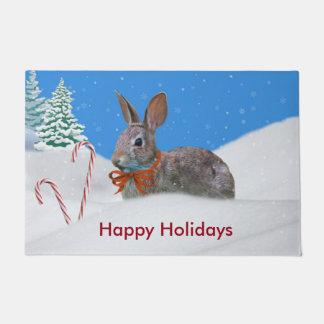 クリスマス、ウサギ、雪、キャンディ・ケーン ドアマット