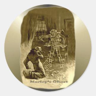 クリスマス-クリスマスキャロルのScrooge ラウンドシール