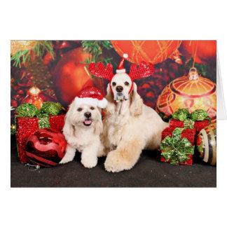 クリスマス-コッカー-トービー、Havanese -少しT カード