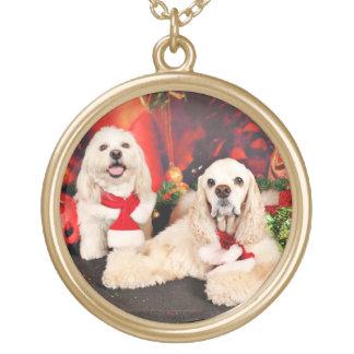 クリスマス-コッカー-トービー、Havanese -少しT ゴールドプレートネックレス