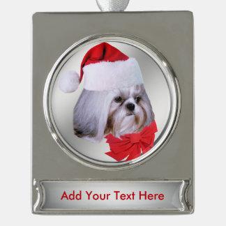 クリスマス、シーズー(犬)のTzu犬、カスタマイズ可能なサンタの帽子 シルバープレートバナーオーナメント