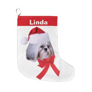 クリスマス、シーズー(犬)のTzu犬、カスタマイズ可能なサンタの帽子 ラージクリスマスストッキング