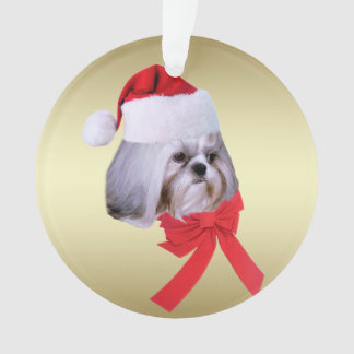 クリスマス、シーズー(犬)のTzu犬、サンタの帽子 オーナメント