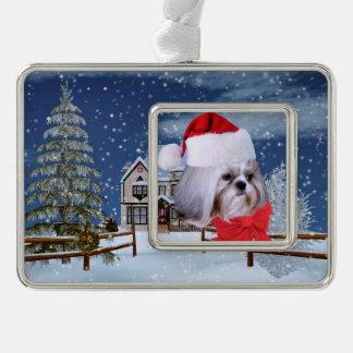 クリスマス、シーズー(犬)のTzu犬、サンタの帽子 シルバープレートフレームオーナメント