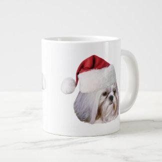 クリスマス、シーズー(犬)のTzu犬、サンタの帽子 ジャンボコーヒーマグカップ