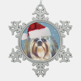 クリスマス、シーズー(犬)のTzu犬、サンタの帽子 スノーフレークピューターオーナメント