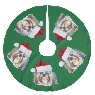クリスマス、シーズー(犬)のTzu犬、サンタの帽子 ブラッシュドポリエステルツリースカート