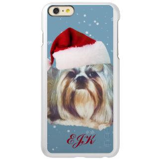 クリスマス、シーズー(犬)のTzu犬、サンタの帽子、モノグラム Incipio Feather Shine iPhone 6 Plusケース