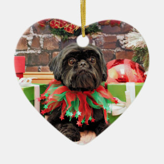 クリスマス-シーズー(犬) Tzu -ユリ セラミックオーナメント
