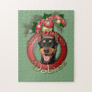 クリスマス-デッキホール-ドーベルマン(犬) - Megyan ジグソーパズル