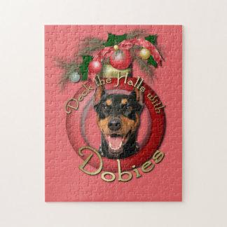 クリスマス-デッキホール-ドーベルマン(犬) - Megyan ジグゾーパズル