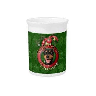 クリスマス-デッキホール-ドーベルマン(犬) - Megyan ピッチャー