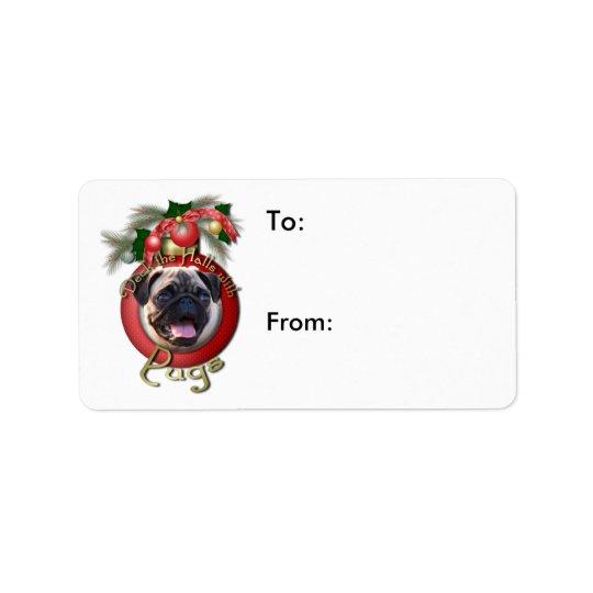 クリスマス-デッキホール-パグ ラベル