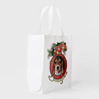 クリスマス-デッキホール-ビーグル犬 エコバッグ