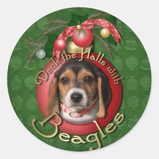 クリスマス-デッキホール-ビーグル犬 ラウンドシール