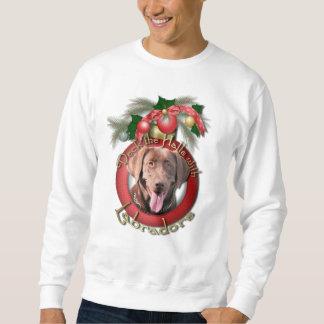 クリスマス-デッキホール-ラブラドール-チョコレート スウェットシャツ
