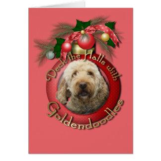クリスマス-デッキホール- Goldendoodles カード