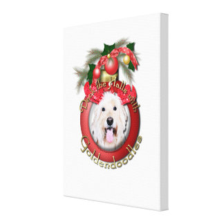 クリスマス-デッキホール- GoldenDoodles -デイジー キャンバスプリント