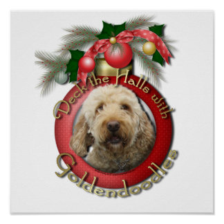 クリスマス-デッキホール- Goldendoodles ポスター