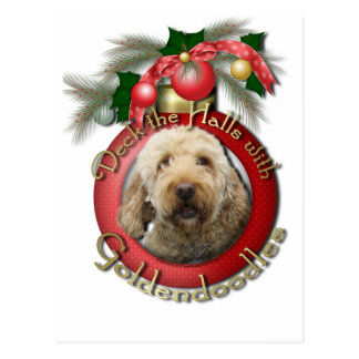 クリスマス-デッキホール- Goldendoodles ポストカード