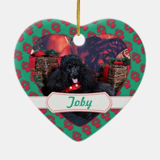 クリスマス-トービー-プードル セラミックオーナメント