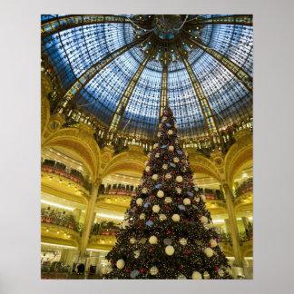 クリスマス、パリ、フランスのGaleriesのLa Fayette ポスター