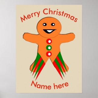 クリスマス・パーティのジンジャーブレッドマンポスター ポスター