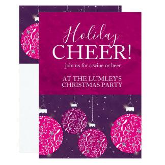 クリスマス・パーティの休日のつまらないもののピンクの招待状 カード