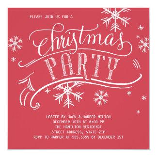 クリスマス・パーティの休日の雪片の正方形の赤 カード