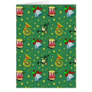 クリスマス-フレンチ・ホルン及びマゼンタのドラム カード